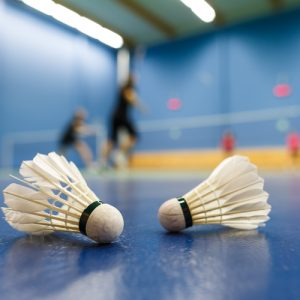 compete in badminton